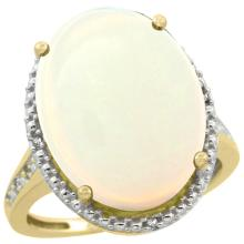 Natural 13.6 ctw Opal & Diamond Engagement Ring 10K Yellow Gold - SC#CY920108 - REF#A50Z2