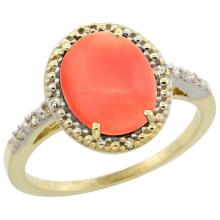 Natural 2.02 ctw Coral & Diamond Engagement Ring 14K Yellow Gold - SC#CY445111 - REF#M24U8
