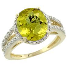 Natural 3.47 ctw Lemon-quartz & Diamond Engagement Ring 10K Yellow Gold - SC#CY927106 - REF#V25T3