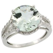 Natural 5.34 ctw Green-amethyst & Diamond Engagement Ring 10K White Gold - SC#CW902110 - REF#K26M8