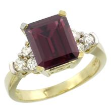 Natural 2.86 ctw rhodolite & Diamond Engagement Ring 10K Yellow Gold - SC#CY923167 - REF#U40K4