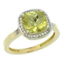 Natural 3.94 ctw Lemon-quartz & Diamond Engagement Ring 14K Yellow Gold - SC#CY427151 - REF#G27V7