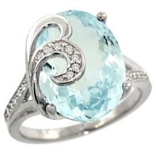 Natural 11.18 ctw aquamarine & Diamond Engagement Ring 14K White Gold - SC#R292651W12 - REF#G127V8