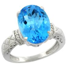 Natural 5.53 ctw Swiss-blue-topaz & Diamond Engagement Ring 14K White Gold - SC#CW404200 - REF#H45N2