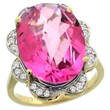 Natural 13.83 ctw pink-topaz & Diamond Engagement Ring 14K Yellow Gold - SC#R308021Y06 - REF#Z94W1