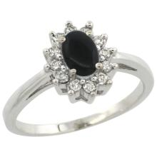 Natural 0.67 ctw Onyx & Diamond Engagement Ring 14K White Gold - SC#CW417103 - REF#H36N1