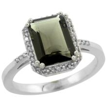 Natural 2.63 ctw Smoky-topaz & Diamond Engagement Ring 14K White Gold - SC#CW407122 - REF#T32G3