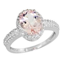 Natural 1.86 ctw Morganite & Diamond Engagement Ring 10K White Gold - SC#CW913139 - REF#F31X1
