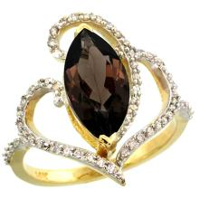 Natural 3.33 ctw Smoky-topaz & Diamond Engagement Ring 14K Yellow Gold - SC#R275571Y07 - REF#Y58H6
