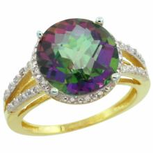 Natural 5.34 ctw Mystic-topaz & Diamond Engagement Ring 14K Yellow Gold - SC#CY408110 - REF#K34M4