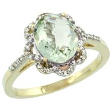Natural 1.85 ctw Green-amethyst & Diamond Engagement Ring 10K Yellow Gold - SC#CY902105 - REF#V22T1