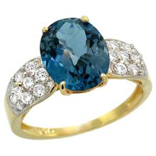 Natural 2.75 ctw london-blue-topaz & Diamond Engagement Ring 14K Yellow Gold - SC#R289771Y05 - REF#T44G8