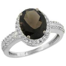 Natural 2.56 ctw Smoky-topaz & Diamond Engagement Ring 14K White Gold - SC#CW407138 - REF#W31N7