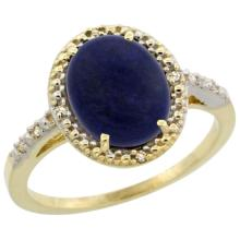 Natural 2.52 ctw Lapis & Diamond Engagement Ring 14K Yellow Gold - SC#CY446111 - REF#Y24H6