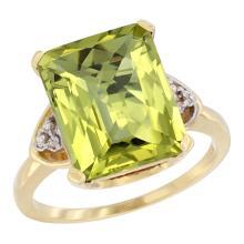 Natural 5.44 ctw lemon-quartz & Diamond Engagement Ring 14K Yellow Gold - SC#CY427177 - REF#F33X1