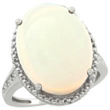 Natural 13.6 ctw Opal & Diamond Engagement Ring 10K White Gold - SC#CW920108 - REF#Y50H2