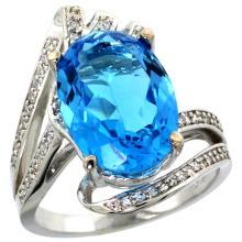Natural 5.76 ctw swiss-blue-topaz & Diamond Engagement Ring 14K White Gold - SC#R309911W04 - REF#H70N1