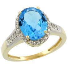 Natural 2.49 ctw Swiss-blue-topaz & Diamond Engagement Ring 10K Yellow Gold - SC#CY904109 - REF#R24F1