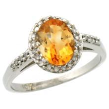 Natural 1.3 ctw Citrine & Diamond Engagement Ring 14K White Gold - SC#CW409137 - REF#G24V2