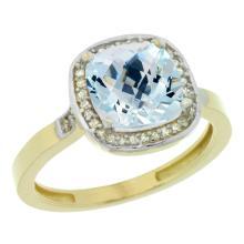 Natural 3.94 ctw Aquamarine & Diamond Engagement Ring 14K Yellow Gold - SC#CY412151 - REF#U46K1