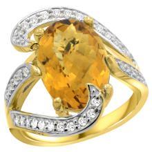 Natural 6.22 ctw quartz & Diamond Engagement Ring 14K Yellow Gold - SC#R308101Y26 - REF#Z97W8