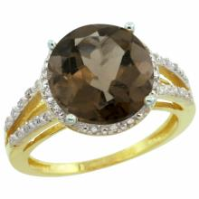 Natural 5.34 ctw Smoky-topaz & Diamond Engagement Ring 14K Yellow Gold - SC#CY407110 - REF#H34N4