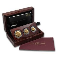 One 2015 Great Britain 3-Coin Gold Sovereign Premium Proof Set - WJA86710