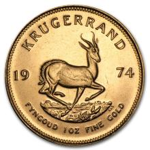 One 1974 South Africa 1 oz Gold Krugerrand - WJA74354