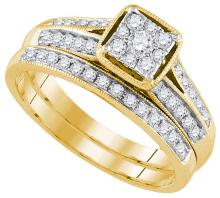 Natural 0.50 ctw Diamond Bridal Set Ring 14K Yellow Gold - GD92702-REF#79X3A