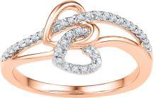 Genuine 0.20 CTW Diamond Ladies Ring 10KT Rose Gold - GD108750-REF#23H3W