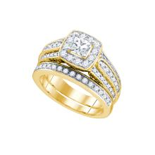 Natural 1.50 ctw Diamond Bridal Set Ring 14K Yellow Gold - GD75414-REF#251H8R