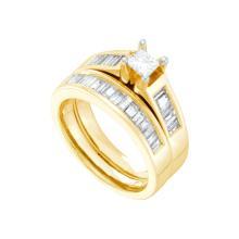 Natural 1.37 ctw Diamond Bridal Set Ring 14K Yellow Gold - GD20198-REF#287A9N