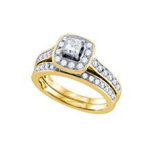 Natural 1.0 ctw Diamond Bridal Set Ring 14K Yellow Gold - GD68778-REF#230A3N