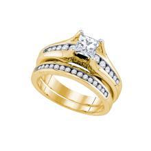 Natural 1.25 ctw Diamond Bridal Set Ring 14K Yellow Gold - GD81112-REF#404Z8Y
