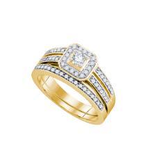 Natural 0.50 ctw Diamond Bridal Set Ring 14K Yellow Gold - GD74352-REF#86A3N