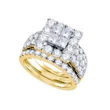 Natural 4.0 ctw Diamond Bridal Set Ring 14K Yellow Gold - GD70237-REF#504R2K