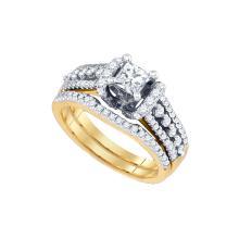 Natural 1.20 ctw Diamond Bridal Set Ring 14K Yellow Gold - GD73492-REF#260K9T