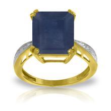 Genuine 7.27 ctw Sapphire & Diamond Ring Jewelry 14KT Yellow Gold - GG-5120-REF#120N2R