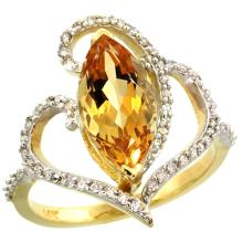 Natural 3.33 ctw Citrine & Diamond Engagement Ring 14K Yellow Gold - SC-R275571Y09-REF#77Y5X