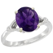 Natural 2.41 ctw Amethyst & Diamond Engagement Ring 14K White Gold - SC-CW401112-REF#33A8V