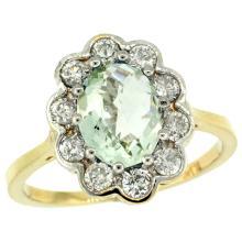 Natural 2.34 ctw Green-amethyst & Diamond Engagement Ring 10K Yellow Gold - SC-10C319661Y02-REF#69M8H