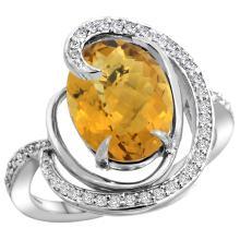 Natural 6.53 ctw quartz & Diamond Engagement Ring 14K White Gold - SC-R289231W26-REF#70H6W