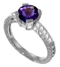 Genuine 1.80 ctw Amethyst & Diamond Ring Jewelry 14KT White Gold - GG-3052-REF#98Y3F