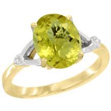 Natural 2.41 ctw Lemon-quartz & Diamond Engagement Ring 14K Yellow Gold - SC-CY427112-REF#33Z3Y