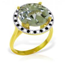 Genuine 5.2 ctw Green Amethyst, White & Black Diamond Ring Jewelry 14KT Yellow Gold - GG-5214-REF#90Z6N