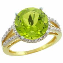 Natural 5.19 ctw Peridot & Diamond Engagement Ring 14K Yellow Gold - SC-CY411110-REF#52M7H