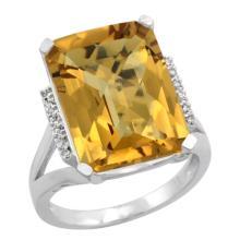 Natural 12.13 ctw Whisky-quartz & Diamond Engagement Ring 14K White Gold - SC-CW426143-REF#67G2M