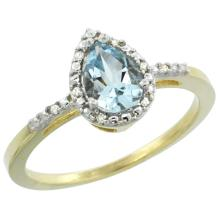 Natural 1.53 ctw aquamarine & Diamond Engagement Ring 10K Yellow Gold - SC-CY912152-REF#24Z4Y