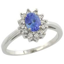 Natural 0.67 ctw Tanzanite & Diamond Engagement Ring 14K White Gold - SC-CW448103-REF#49V9F