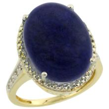 Natural 9.49 ctw Lapis & Diamond Engagement Ring 10K Yellow Gold - SC-CY946108-REF#42A9V